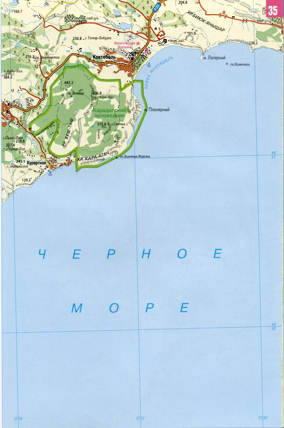 Крым карта курортов